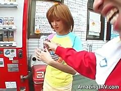 Asian Redhead Teen Gets Picked Up For