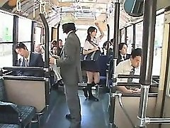 Japanese schoolgirl gets gangbanged in a bus