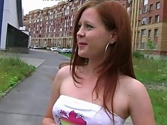 18 Teen Redhead Anal Fucked Outside In Car By 2..