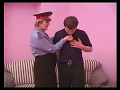 Chubby policewoman fucking younger guy
