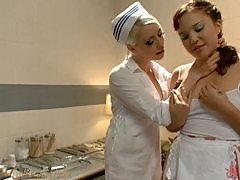 Blonde Nurse Dominatrix Abusing a Cute Pigtailed Teen