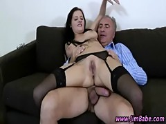 Hot stockings bitch gets a cumshot