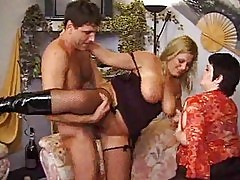 Two older babes with one younger dick