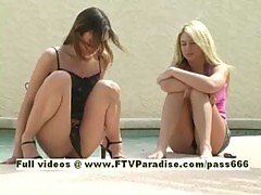 Kimber teen redhead girl near a swimming pool with her friend