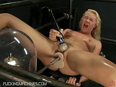 Innocent Looking Blonde Teen Takes On A Fucking Machine