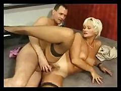 Horny Blonde Granny Trading Oral Gets This Younger Guy Boning Her