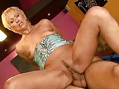 Hot granny sucking and riding big young cock
