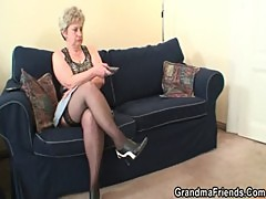 Old bitch takes two cocks after masturbation