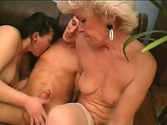 Two feisty grandmas get filthy with young man