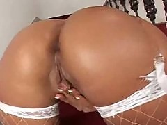 White lingerie Simone Peach ass fucked hard